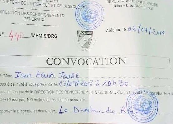La convocation de l'imam Aguib Touré