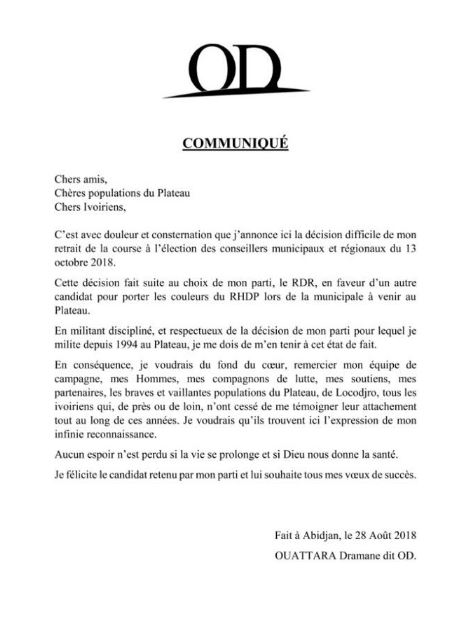 Le courrier d'abdication de Ouattara Dramane OD